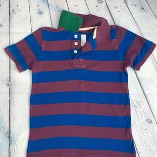 Mini Boden purple and blue striped polo shirt age 5-6