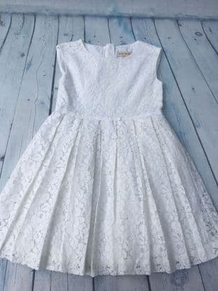 Mini Boden white lace occasion dress age 5-6