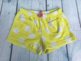 Mini Boden yellow and white polka dot towelling shorts age 5-6