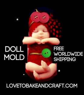 Baby doll mold, silicone baby doll mold, doll mould, 3D doll mold. Free shipping