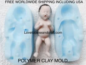 Baby mold, polymer baby, OOAK baby, OOAK doll, polymer clay baby, Free worldwide shipping. (1)