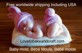 Baby mould, Premo baby, Fimo baby, Sculpey baby, Polymer clay baby, Free worldwide shipping