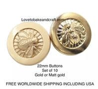Bee shaped buttons, Bee buttons, , Free worldwide shipping