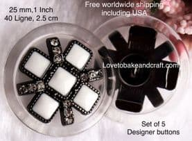 Black and white buttons,  Black enamel buttons, White enamel buttons,  Free worldwide shipping