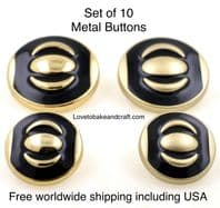 Black enamel buttons , Black and gold buttons. Free worldwide shipping
