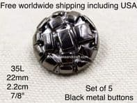 Black Enamel  buttons, Black jacket buttons, Enamel buttons,  Free worldwide shipping