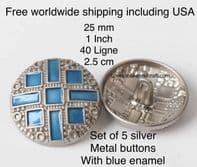 Blue and silver metal buttons, Blue enamel buttons, Silver enamel buttons, Free worldwide shipping