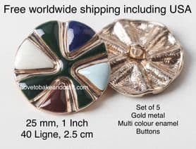 Ceramic  buttons, Gold metal. Enamel buttons. Free worldwide shipping (2) (3) (4) (5) (6)