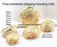 Designer buttons, Logo buttons, Gold Metal  buttons. Free worldwide shipping (2) (3) (4) (5) (7) (8)