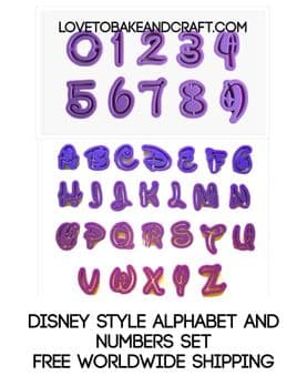 Disney  alphabet and number cutters, Disney alphabet  cutters, Disney number cutters, Fondant alphabet, Gumpaste cutters, free worldwide shipping