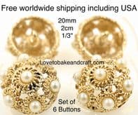 Gold and pearl buttons, Pearl jacket buttons,  Pearl buttons, Free worldwide shipping (