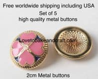 Gold and Pink buttons, Pink enamel buttons, Free worldwide shipping