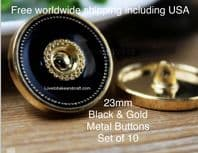 Gold buttons, Black enamel buttons , Designer buttons. Free worldwide shipping (2) (3) (4) (5) (7)