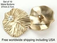 Gold Pearl buttons. Pearl buttons. Free worldwide shipping (2) (3) (4) (5) (7) (8) (9) (10)