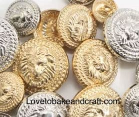 Lion buttons, Gold lion buttons. Silver lion buttons,  Free worldwide shipping