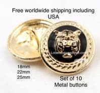 Lions head buttons, Gold metal. Free worldwide shipping (2) (3) (4) (5) (7)