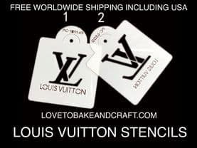LV  cake stencil. Louis Vuitton stencil . LV cupcakes. LV cookies. Set of 2. Free worldwide shipping