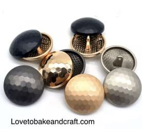 Metal buttons, Gold, Silver, Black metal buttons, Free worldwide shipping