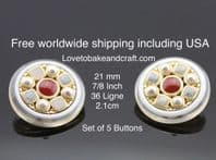 Pearl coat buttons, Pearl buttons, Gold metal. Free worldwide shipping