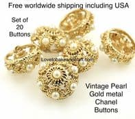 Pearl jacket buttons Gold and pearl buttons, free worldwide shipping