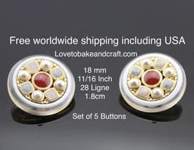 Pearl Jacket buttons, Ruby  buttons, Gold metal buttons. Free worldwide shipping (2) (3) (4) (5) (6)