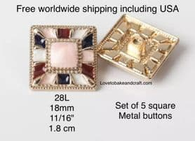 Pink jacket buttons, Pink Square buttons, Pink metal buttons, Free  worldwide