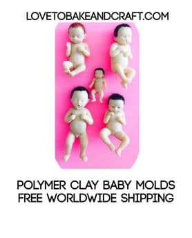 Polymer clay baby molds, 5 Baby moulds, Doll molds, Fimo, Sculpey, Doll moulds, Clay, Set of 5, Baby molds, Free worldwide shipping