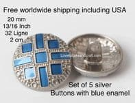 Silver and blue metal buttons, Blue metal buttons, free worldwide shipping
