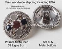 Silver metal buttons, Gray metal buttons, Grey metal buttons. Free worldwide shipping