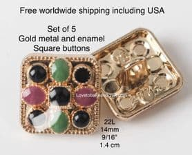 Square buttons, Square enamel buttons, Pink square buttons, Free worldwide shipping