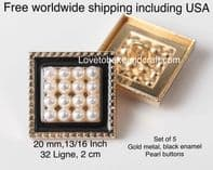Square buttons,  Square pearl buttons, Black pearl buttons, Free worldwide shipping