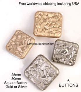 Square gold buttons. Square silver buttons. Free worldwide shipping including USA