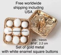 Square white buttons, White enamel buttons, White metal buttons. Free worldwide shipping