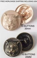 Tiger jacket buttons, Tiger buttons, Metal tiger buttons, Free worldwide shipping including USA (1)
