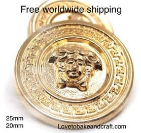Versace Buttons, Medusa Buttons, Gold metal jacket buttons, Free Shipping Including USA