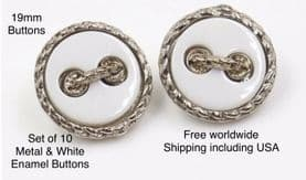 White enamel buttons, Silver Buttons . Free worldwide shipping (2) (3) (4) (5) (8)