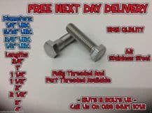 """1/4,5/16,3/8,1/2"""" UNC SET SCREWS A2 STAINLESS STEEL FULLY THREADED BOLTS"""