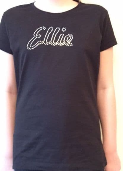 Adults Fitted T-Shirt with Rhinestud Name Design