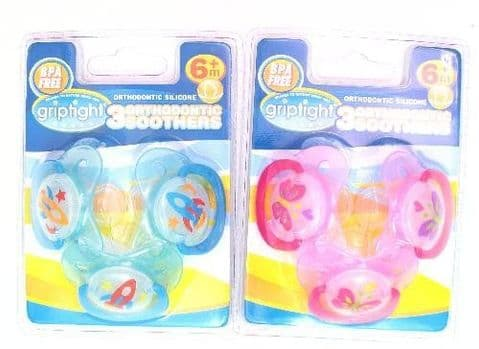 Griptight 3 Decorated Orthodontic Soothers (Silicone) (6 Months+, Pink)
