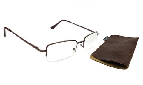 """Serelo Unisex Reading Glasses """"Marlow"""" Brown Metal Frame with Case (Brown 1.5 x)"""