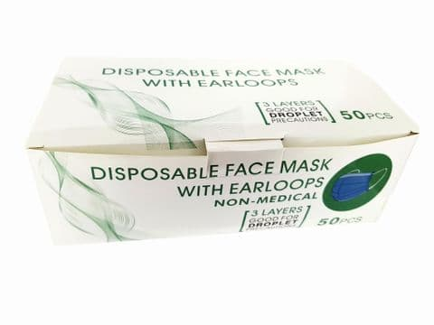 Single Use 3 Ply Disposable Face masks x 50
