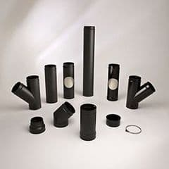 90 degree tee and end cap Matt black pipe 150mm