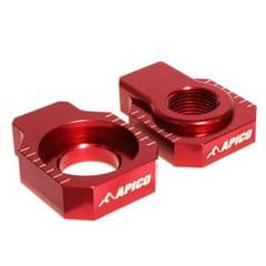 Beta Rear Axle Blocks RR 125-300 2T 250-525 4T 05-22 Apico Spindle Adjusters Red