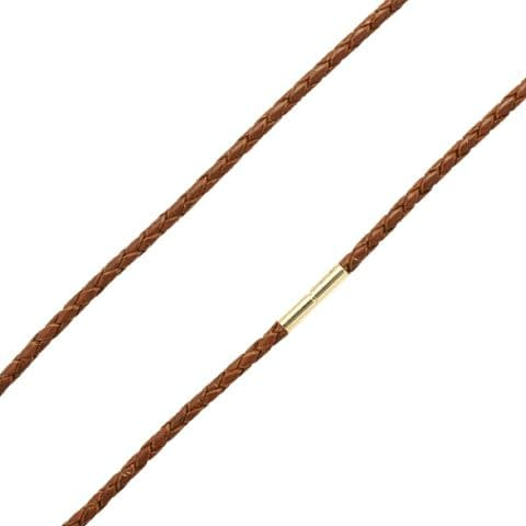 3mm Braided Leather Necklace With 9ct Gold Twist Clasp-Light Brown