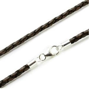 3mm Braided Leather Necklace With Sterling Silver Clasp-Antique Brown
