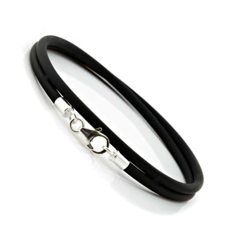 3mm Rubber & Sterling Silver Bracelet-Double Wrapped