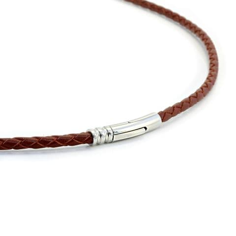4mm Braided Leather Necklace With Stainless Steel Trigger Clasp-Saddle Brown