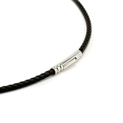 4mm Braided Rubber Necklace With Stainless Clasp-Black