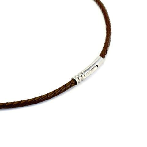 4mm Braided Rubber Necklace With Stainless Clasp-Brown