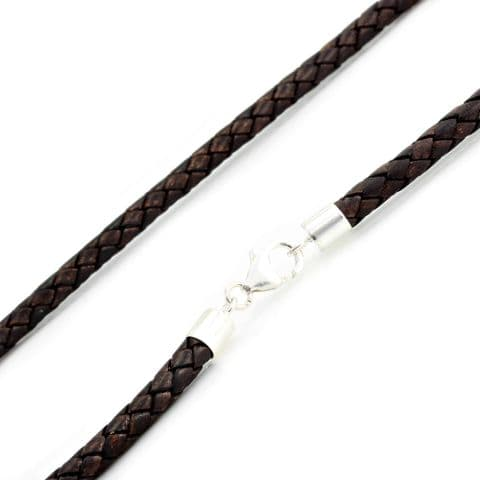 5mm Braided Leather Necklace With Sterling Silver Clasp-Antique Brown